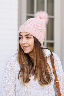 Pink Stitch in Time Cozy Pom Pom Beanie - Pink - FINAL SALE - Madison and Mallory