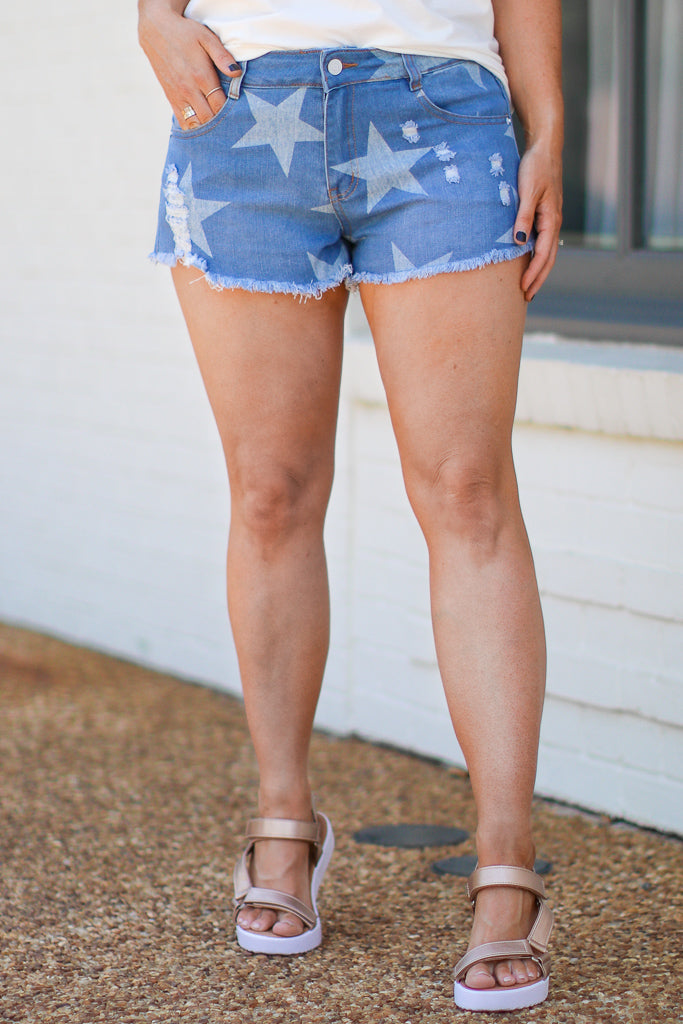 S / Light Denim Lightyear Distressed Star Print Shorts - Madison and Mallory