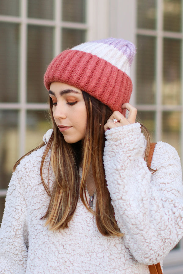 Rose/Lavender On Chill Color Block Knit Beanie - Rose/Lavender - FINAL SALE - Madison and Mallory