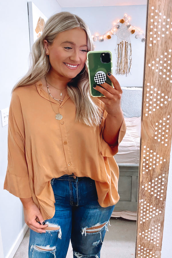 Honey / S Celaeno Button Down Flowy Top - Honey - Madison and Mallory