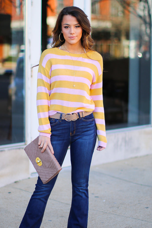 Can't Walk Away Striped Knit Sweater - Madison + Mallory