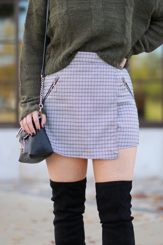S / Gray Kayson Plaid Wrap Skort - Madison + Mallory