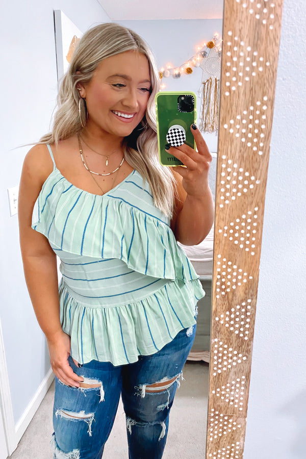 Mint / S Smooth Mover Striped Ruffle Tank - FINAL SALE - Madison and Mallory