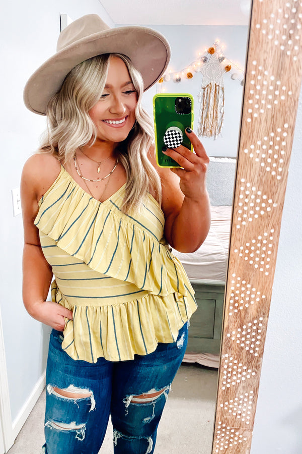 Yellow / S Smooth Mover Striped Ruffle Tank - Madison and Mallory