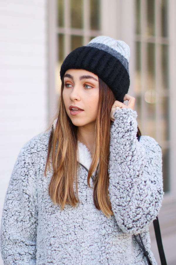 Black/Gray *DOORBUSTER* On Chill Color Block Knit Beanie - Black/Gray - Madison + Mallory