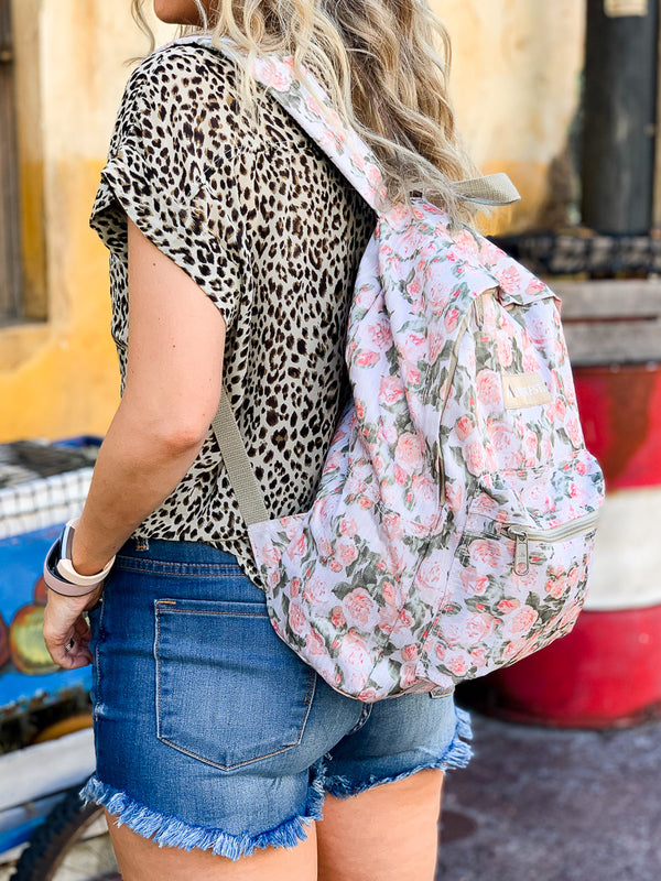 OS / Floral English Rose Canvas Backpack - Madison + Mallory