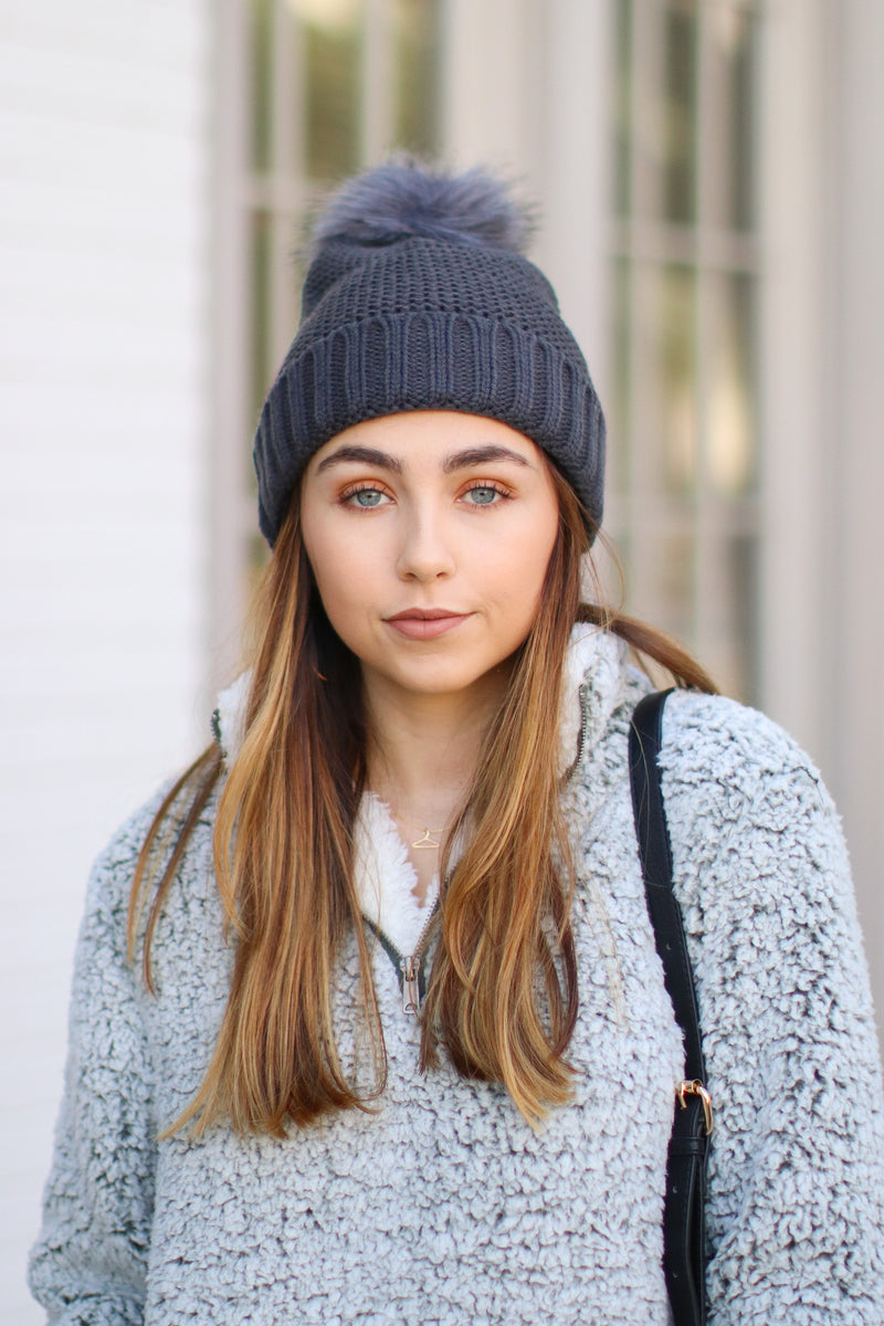 Gray *DOORBUSTER* Stitch in Time Cozy Pom Pom Beanie - Gray - Madison + Mallory