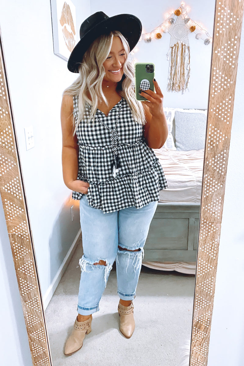 No Routine Gingham Tiered Tank - Madison and Mallory