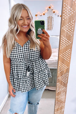 S / Black No Routine Gingham Tiered Tank - Madison and Mallory