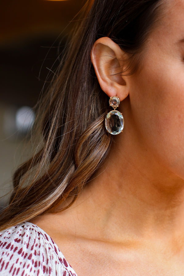 Clear Lumina Crystal Drop Earrings - Madison and Mallory