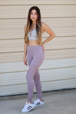 S / Violet Mesh Detail Accent Leggings - Madison + Mallory