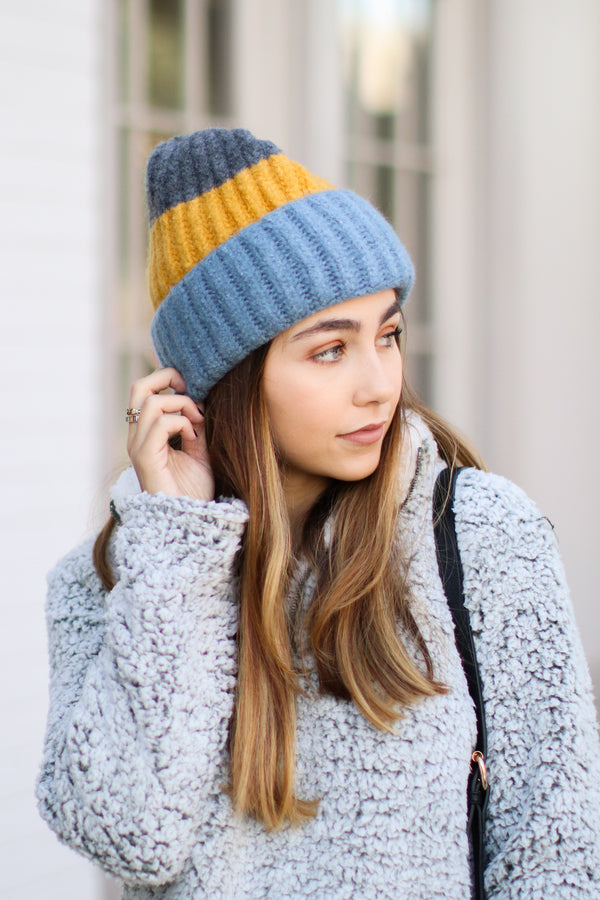 Blue/Mustard On Chill Color Block Knit Beanie - Blue/Mustard - Madison and Mallory