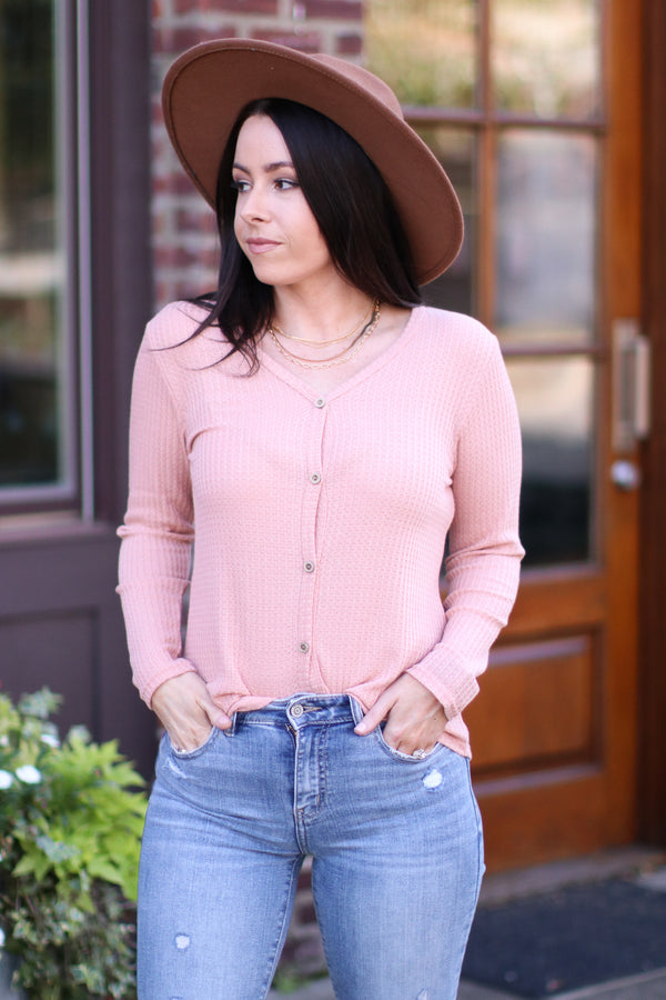 Araceli Waffle Knit Button Top | Doorbuster - Madison and Mallory