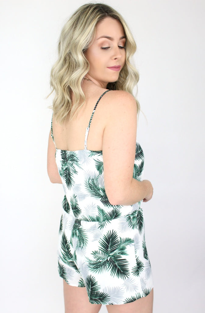 Palm Leaf Front Tie Romper