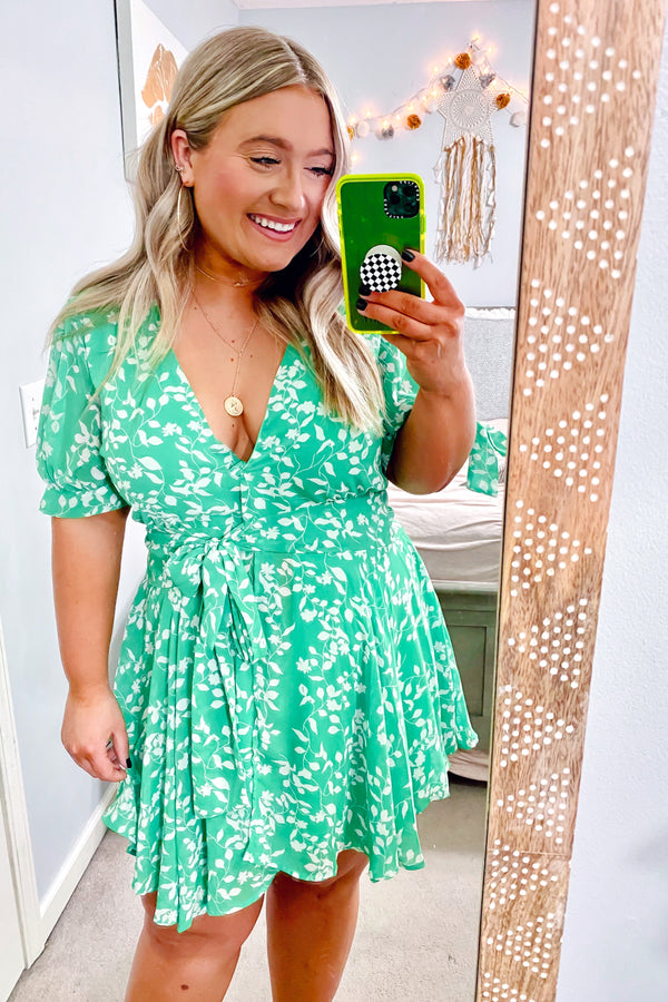 Leaf You Smiling Surplice Wrap Dress - Kelly Green - Madison and Mallory