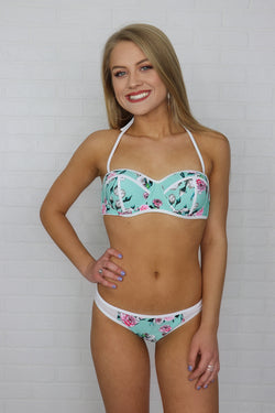 S / Mint Mint Floral Push Up Bikini Top - FINAL SALE - Madison and Mallory