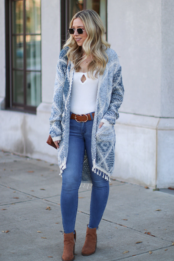 S / Blue Abigail Geometric Printed Cardigan - Blue - Madison + Mallory