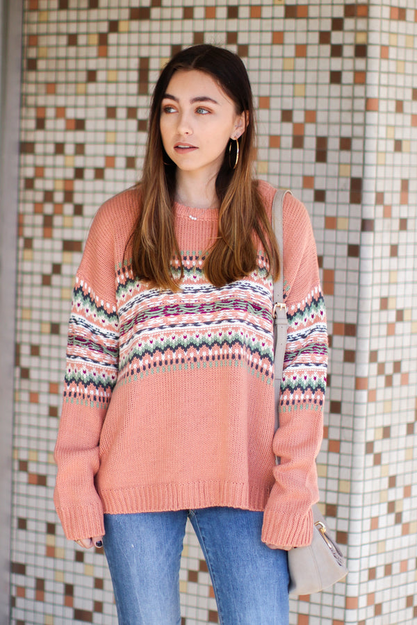S / Terracotta Secret Heart Knit Pattern Sweater -Terracotta - FINAL SALE - Madison and Mallory