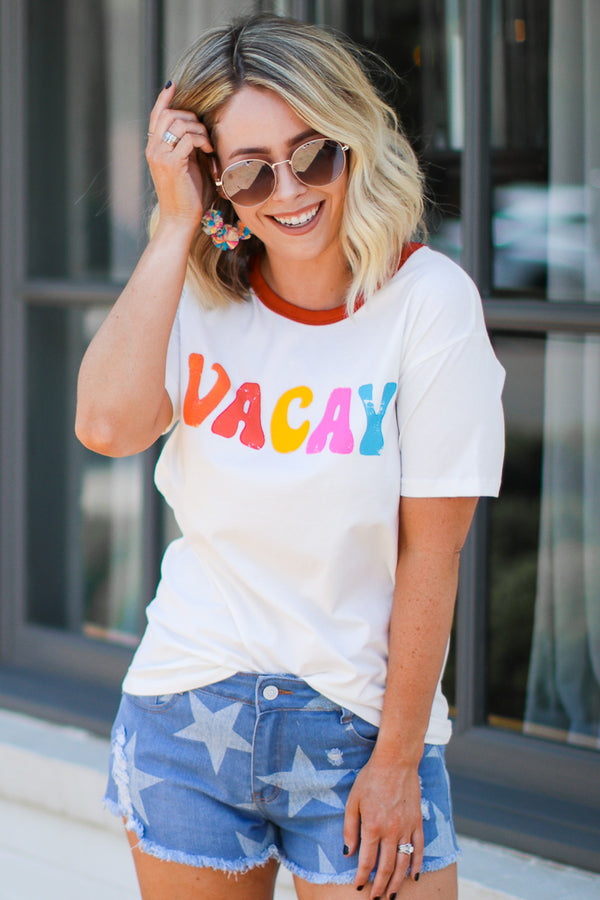 S / Ivory Vacay Multi Color Graphic Top | CURVE - Madison + Mallory