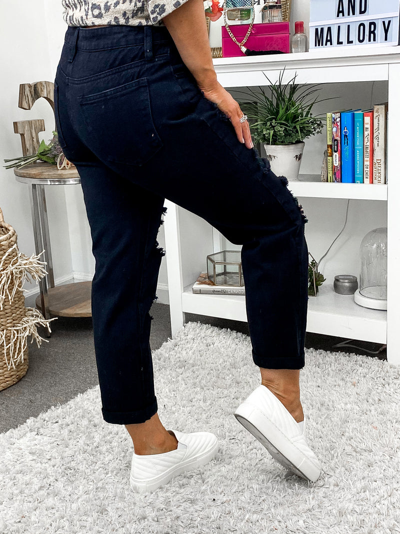 Keane Distressed Mid-Rise Boyfriend Jeans - Madison and Mallory