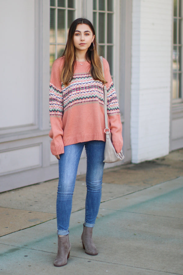 Secret Heart Knit Pattern Sweater -Terracotta - FINAL SALE - Madison and Mallory