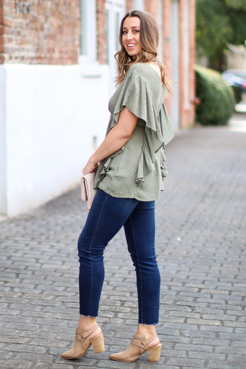 Verna Swiss Dot V-Neck Top - Olive - Madison and Mallory