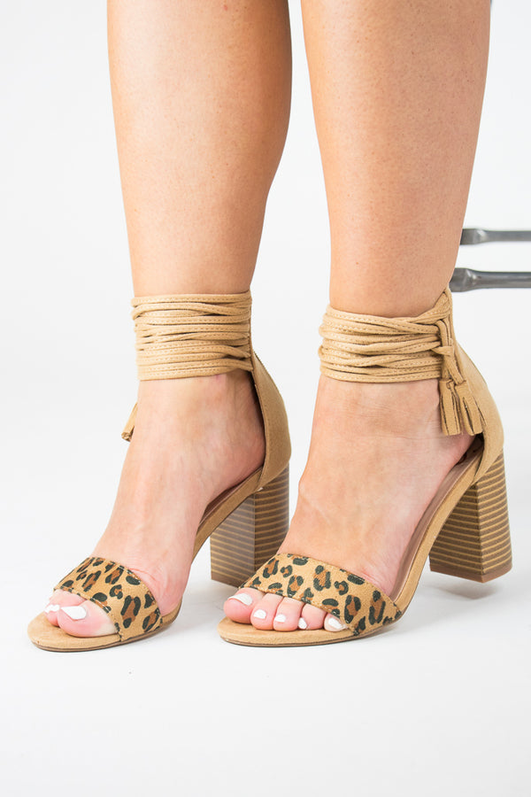Leopard / 5.5 Tassel Ankle-Wrap Heels + MORE COLORS - FINAL SALE - Madison and Mallory