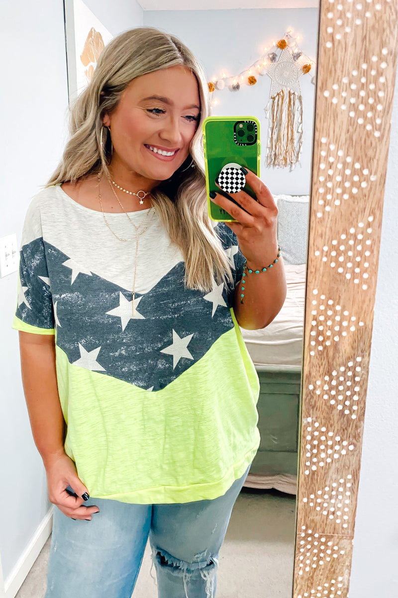 Star Bright Color Block Chevron Top - Madison and Mallory
