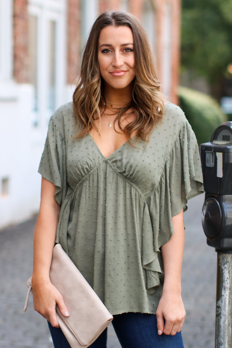 S / Olive Verna Swiss Dot V-Neck Top - Olive - Madison and Mallory