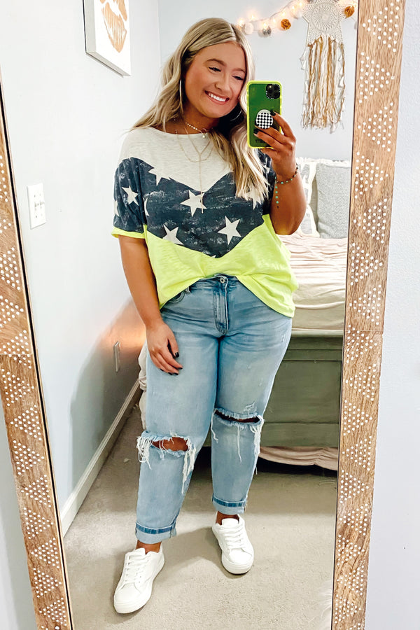 Lemon Neon / S Star Bright Color Block Chevron Top - Madison and Mallory
