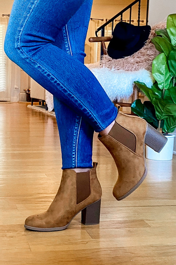 Found My Way Faux Seude Heeled Booties - Madison and Mallory