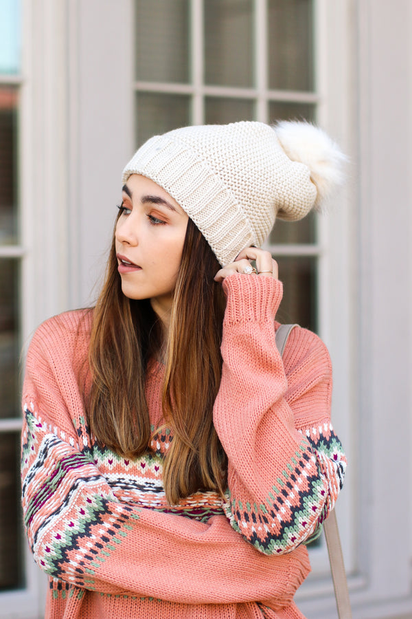 Ivory *DOORBUSTER* Stitch in Time Cozy Pom Pom Beanie - Ivory - Madison + Mallory