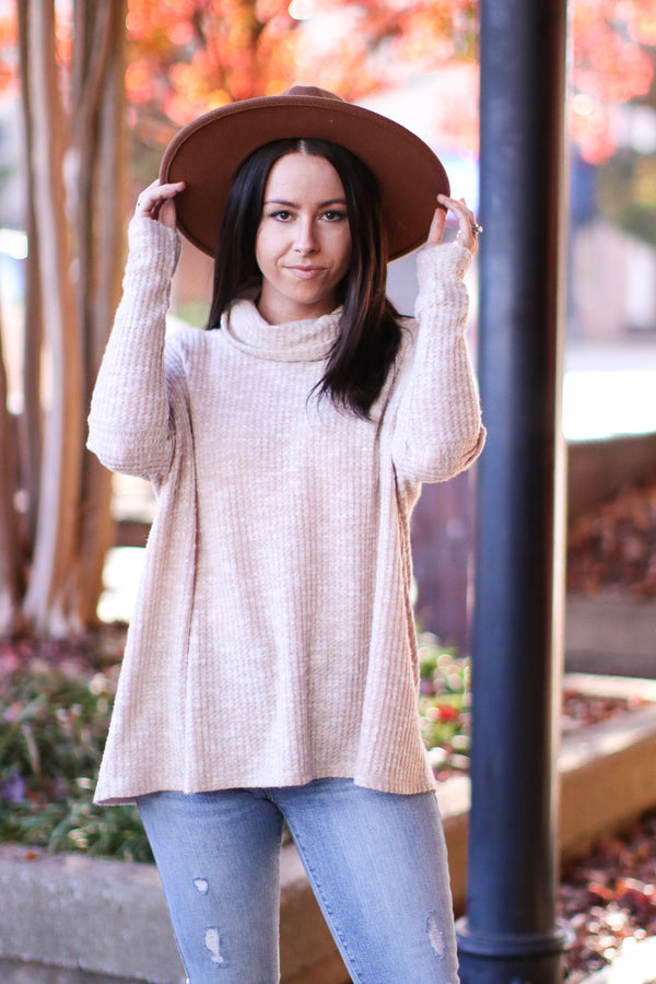 Taupe / S Valdez Thermal Knit Cowl Neck Top | Doorbuster - Madison and Mallory
