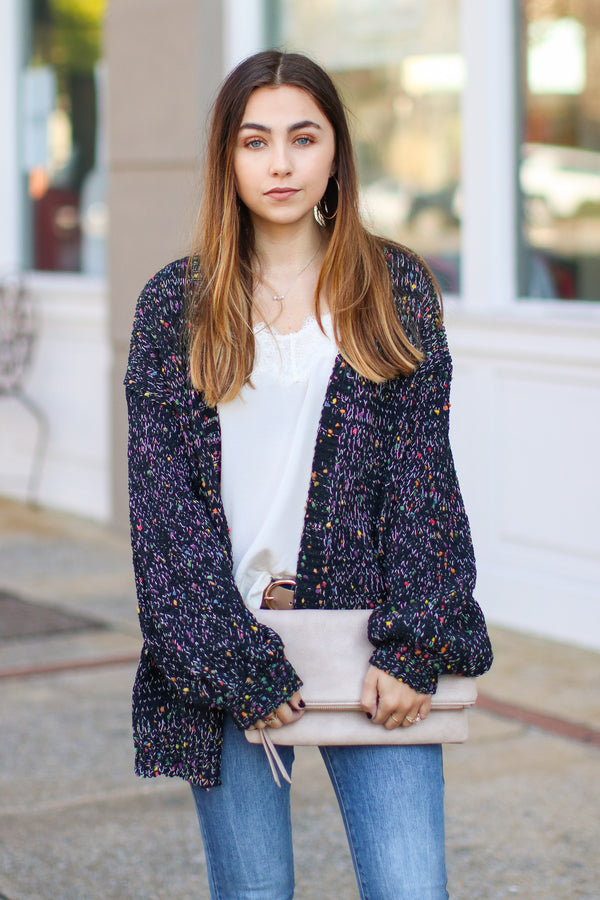 S / Black Double Take Multi Color Knit Cardigan - Madison + Mallory
