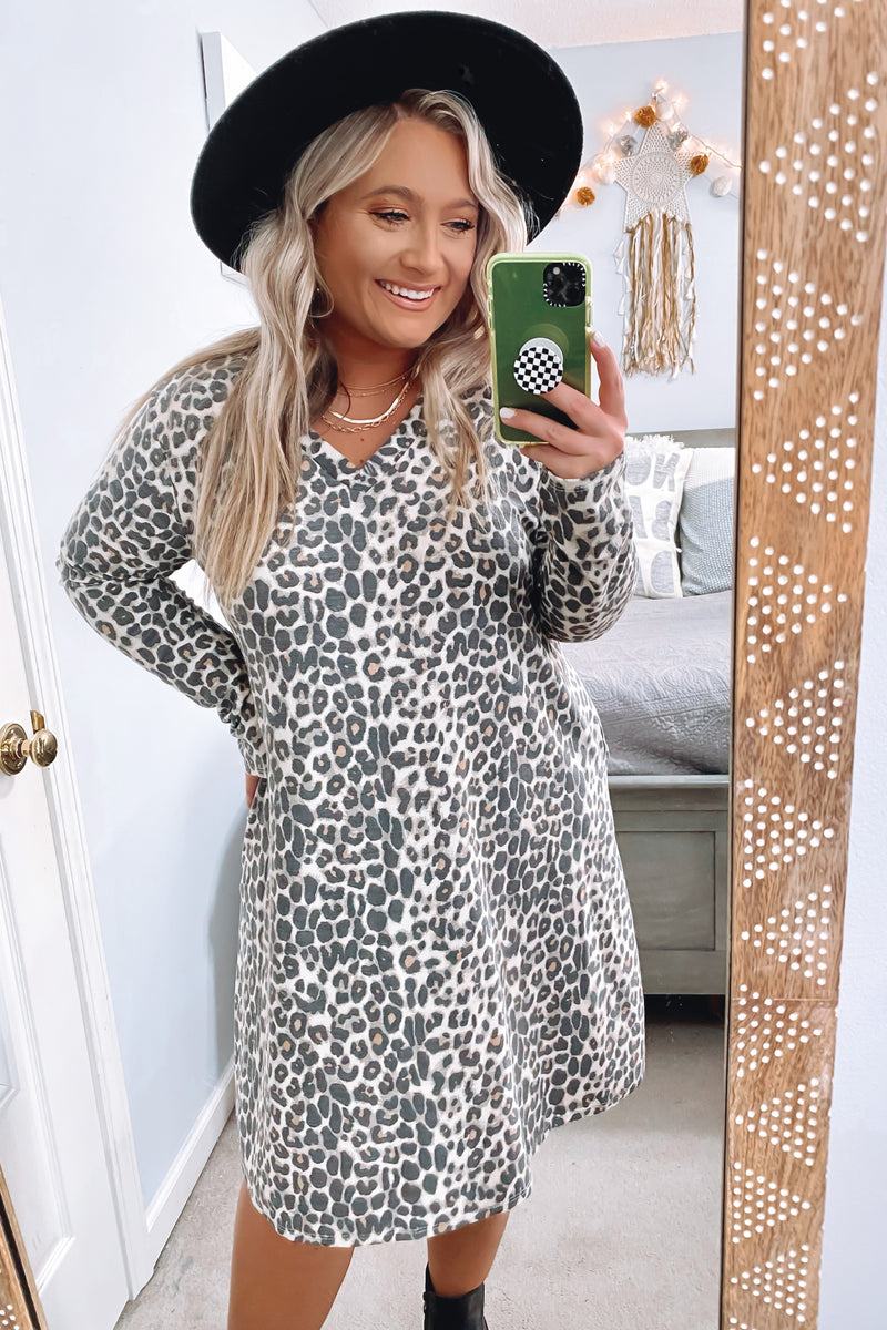 Virden Animal Print Long Sleeve V-Neck Dress - Madison and Mallory