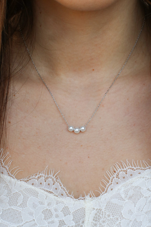 Silver Evolve Pearl Necklace - Madison + Mallory