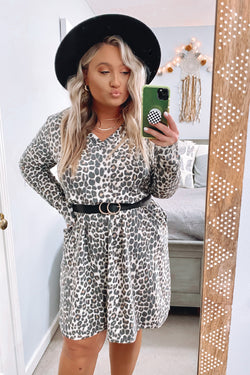 S / Taupe Virden Animal Print Long Sleeve V-Neck Dress - Madison and Mallory