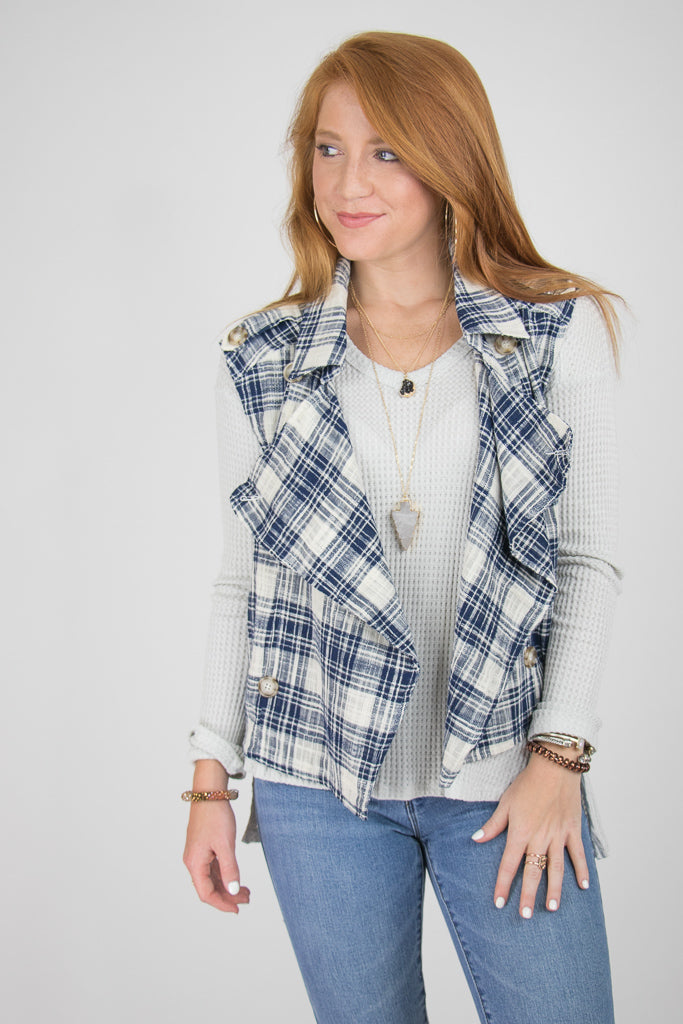 S / NAVY Button Detail Plaid Vest - Madison + Mallory