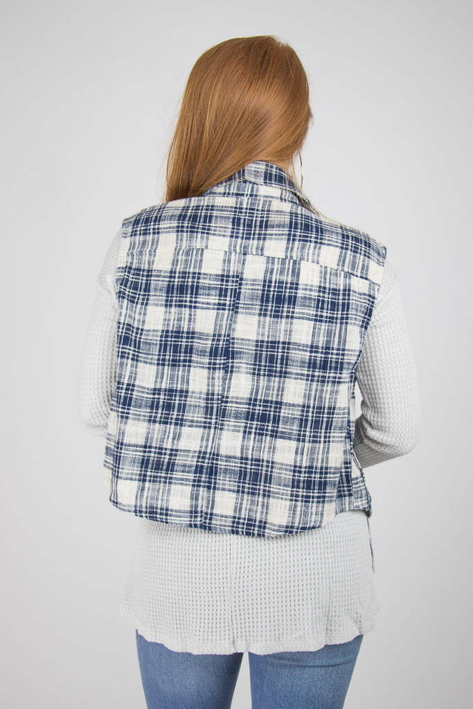 Button Detail Plaid Vest - Madison + Mallory