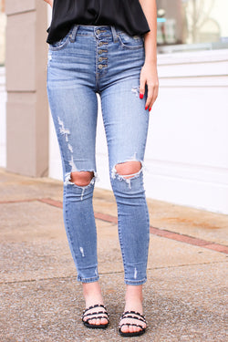 0 / Medium Wash Tilly Distressed Skinny Jeans - Madison and Mallory
