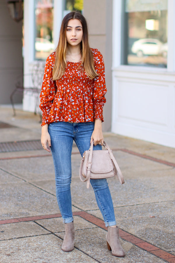 Arlette Smocked Floral Top - Rust - Madison + Mallory