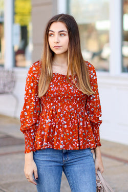 Rust / S Arlette Smocked Floral Top - Rust - FINAL SALE - Madison and Mallory