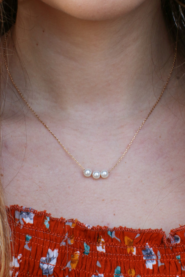 Gold Evolve Pearl Necklace - Madison and Mallory