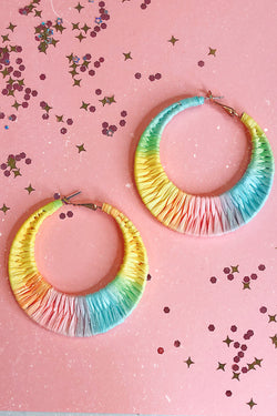 Multi Sun Seeking Rainbow Hoop Earrings - Madison and Mallory