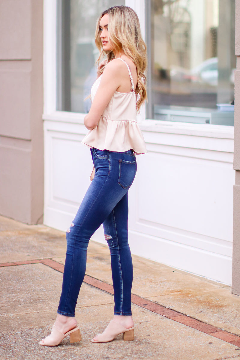 Camari Distressed High Rise Skinny Jeans - Madison and Mallory