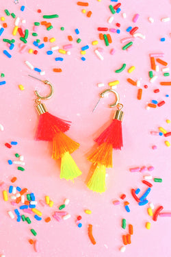 Neon Desert Isle Tassel Drop Earrings - Madison and Mallory
