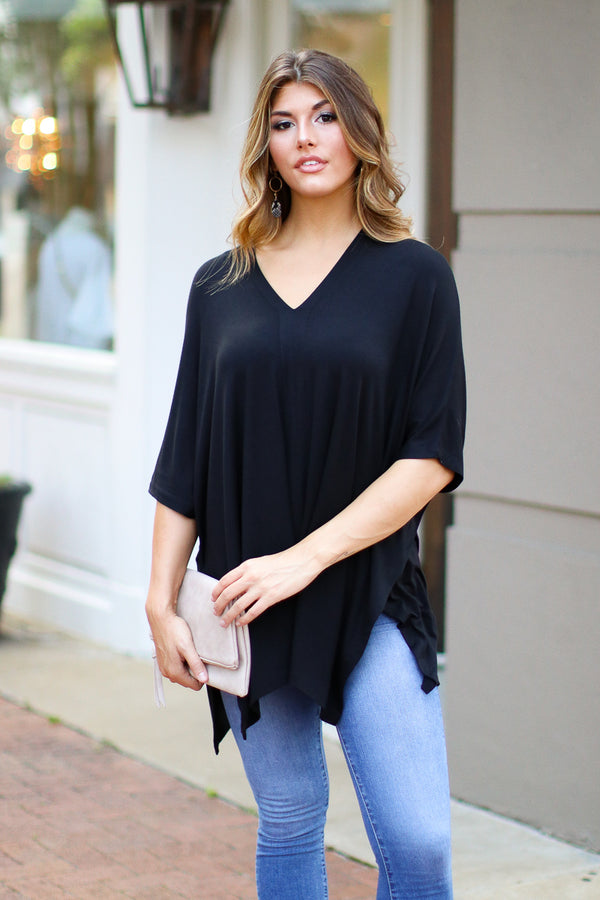 Black / S Veronica Oversized Knit Top - Black - Madison + Mallory