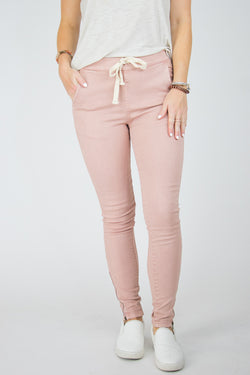 S / Rose Drawstring Ankle Zip Pants - Madison + Mallory