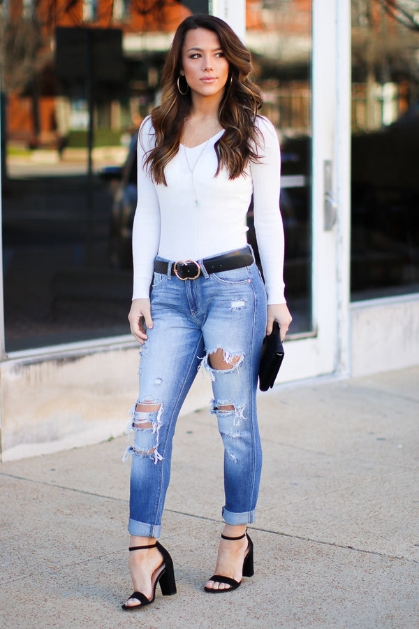 Wilder Distressed Boyfriend Jeans - Madison + Mallory