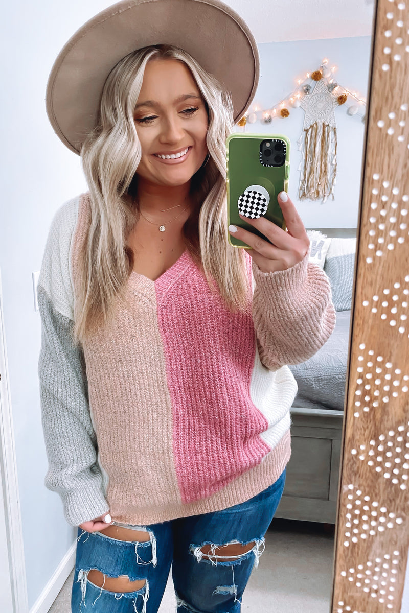 S / Mauve Listen Closely Ribbed Color Block Sweater - Madison and Mallory